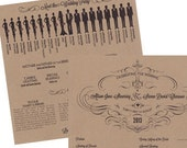 Qty.50 Extra Large Silhouette Square Wedding Program - ONE sheet of Paper Bag (Kraft) cardstock  printed on both sides