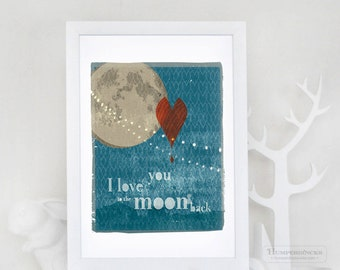 Moon and Back Poster, Love Art Print, Heart, Moon, Night Sky Wall Art, Typographic//To the Moon & Back