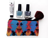 Zippered Pencil Case / Makeup / Jewelry / IPad / Laptop Pouch Case By Pencil Me In //  Geometric Blue Edition