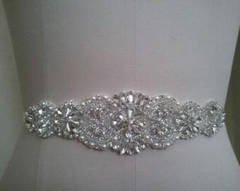 Wedding Belt, Bridal Belt, Sash Belt, Crystal Rhinestone & Off White Pearls  - Style B200099L