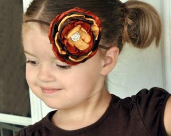 Fall Headband, Burnt Orange Marigold Brown Headband, Autumn Headband