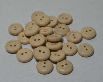 "5/8"" Wood Buttons - Set of 25 - 5/8 Inch Button - Unfinished - Wooden Buttons - 1/8"" Thick - DIY - Set of 25 - DIY - Clothes Buttons"
