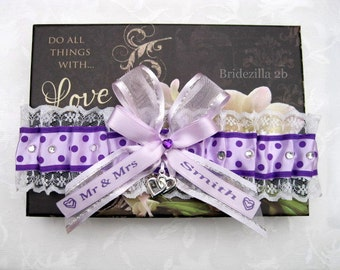 Orchid Lilac Purple & White Lace Personalised Wedding Garter with Swarovski Crystals and Hearts Charms