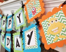 PARTY PACK SPECIAL - Little Monster Birthday Banner - Lime Green Chevron Blue Polka Dots with orange and Black accents