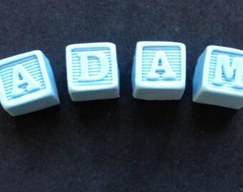 Fondant personalized letter blocks cake topper