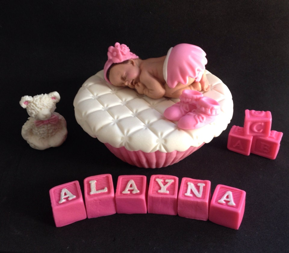 Baby Shaped Cake Images : Fondant baby on a 3D shaped cupcake cake topper and letter