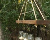 Indoor / Outdoor Mason Jar and Wood chandelier, candle holder
