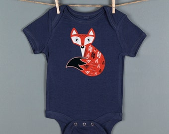 On Sale Woodland Fox Onsie, Baby Boy Gift, Boho Baby Gift, Baby Shower, Fox Baby Onesie by Feather 4 Arrow