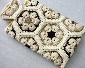 Crochet Hot Water Bottle Cozy, African Flower Hot Water Bottle Cover