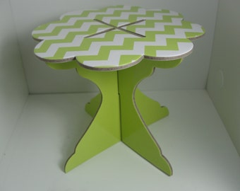 Mini Lime Green Chevron cupcake stand, individual cupcake stand,dessert stand, snack stand,cupcake stand