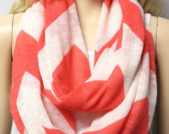 Coral & Cream  Chevron Print  -----Super SOFT  Sweater knit  Infinity Scarf gift ideas
