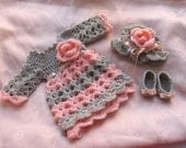Crochet grey peach baby dress, grey pink baby outfit, baby girl dress in grey peach , baby shoes , crochet baby hat with crochet flower