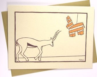 Funny Birthday Card, Funny Kids Birthday Card, Gazelle with Pinata, Recycled Illustrated Card (1014)