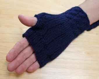 Deep Navy Blue Fingerless Gloves, Gauntlets, Wrist Warmers