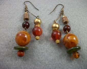 Sale     Vintage Two Strand Butterscotch Beaded Pierced Earrings