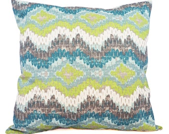 Two Pillow Covers - Two Green and Blue Ikat Covers - Chevron Pillow - Blue Ikat Pillow - Green Ikat Pillow - Ikat Pillow Covers