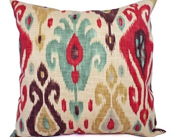 Two Ikat Throw Pillow Covers - Red and Brown Ikat Throw Pillows - Ikat Throw Pillow - Pillow Sham - Ikat Pillow Cover - Brown Pillow