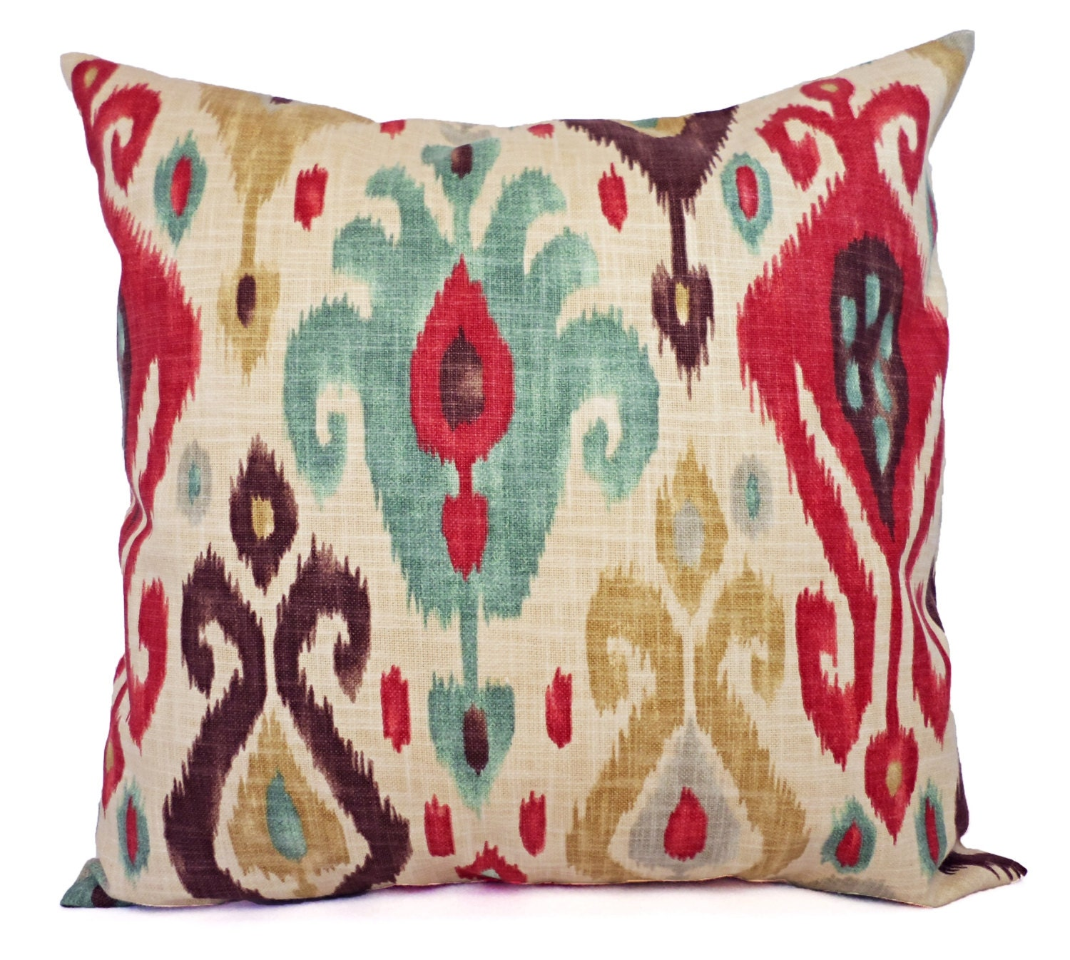 Two Ikat Throw Pillow Covers Red and Brown by CastawayCoveDecor