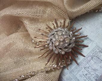 Vintage Sunburst Rhinestone Brooch