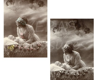 Vintage Style Mother, baby and Angels Postcards Digital Images for card making or Crafts