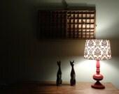 Vintage Modern Red Metal Lamp, Old Modern Lighting, Retro Red Table Lamp
