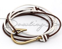 Bronze Fish Hook Bracelet on White & Chocolate Brown Leather Cord