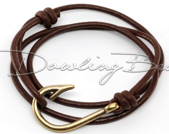 Bronze Fish Hook Bracelet on Chocolate Brown Leather Cord