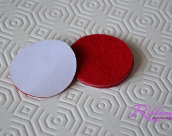 "Red -adhesive felt circle 1.5"" Mix &Match  for hair accessories 10 or 20"