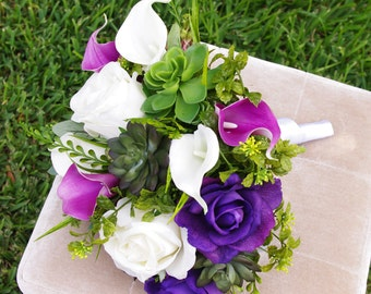Wedding Succulents and Roses Bouquet -Purple Roses and Callas Natural Touch Silk Flower Bride Bouquet