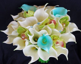 Silk Flower Wedding Bouquet - Aqua Turquise Mint Blue and Green Calla Lilies and Orchids Natural Touch Silk Bridal Bouquet