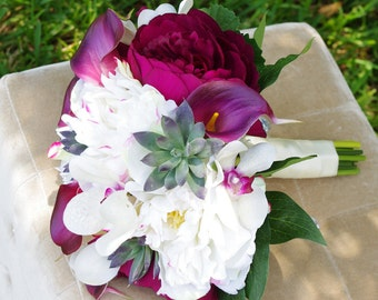 Silk Wedding Bouquet Plum Peonies, Calla Lilies, Succulent and Orchids Natural Touch Flowers Bridal Bouquet