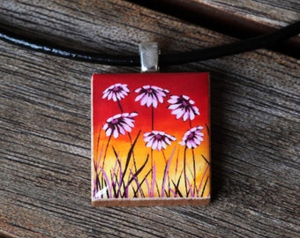 Sunset Daisies Resin Scrabble Tile Pendant Necklace