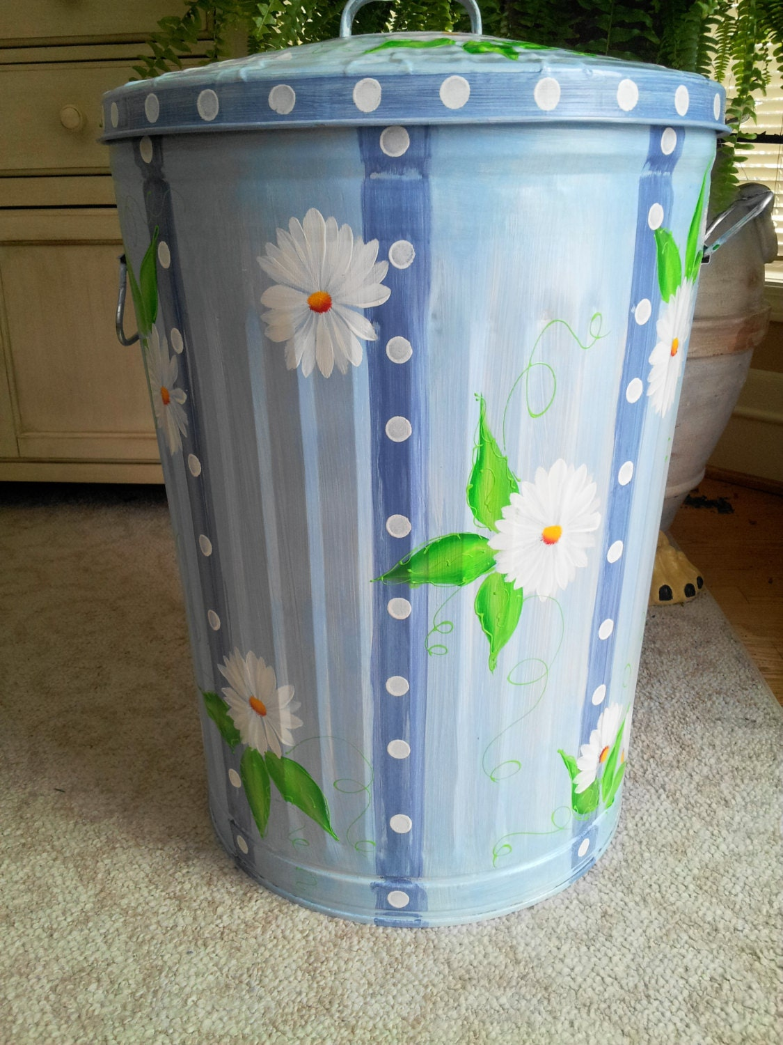 hand painted galvanized metal 20 gallon