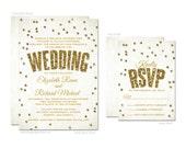 Gold Glitter Confetti Wedding Invitations & RSVP Cards  - Printed Wedding Invitations and RSVPs - Printable Wedding Invitations and RSVPs