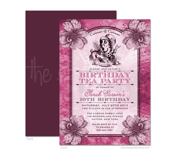 mad hatter birthday tea party invitations diy by
