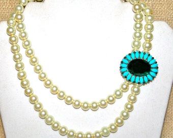 2-Strand Pearl Necklace with Emerald and Light Blue Rhinestone Embellishment