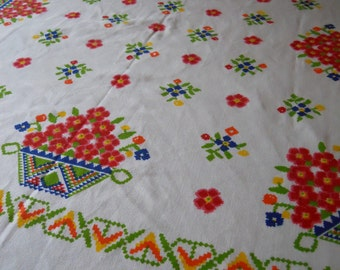 Vintage Rectangular Linen Tablecloth with Flower Baskets, Vibrant Primary Colors - Circa 1960s - 1970s