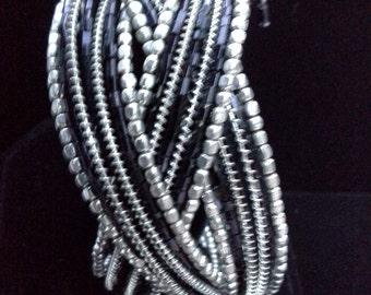 Black Silver Seed Bead Bracelet
