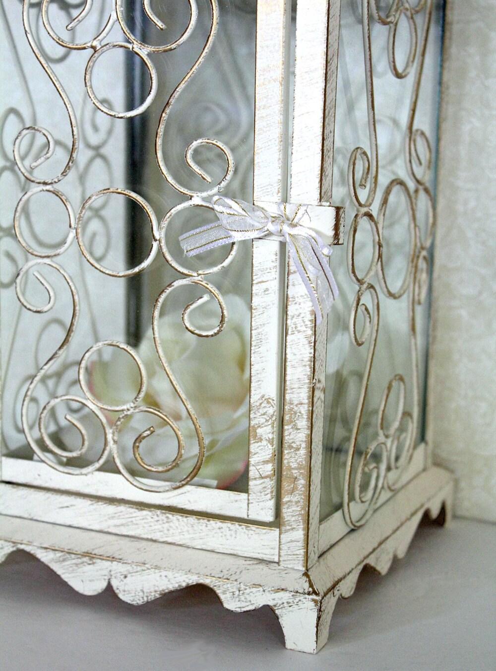 Wedding lantern centerpiece in vintage antique ivory