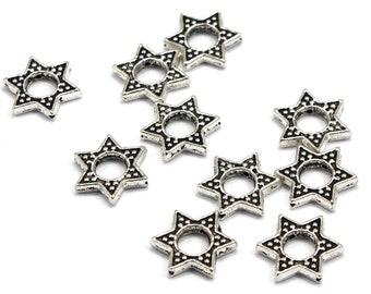 Antique Silver Plated Star of David Bead Frame, 15mm x 13mm,  Quan. (10)