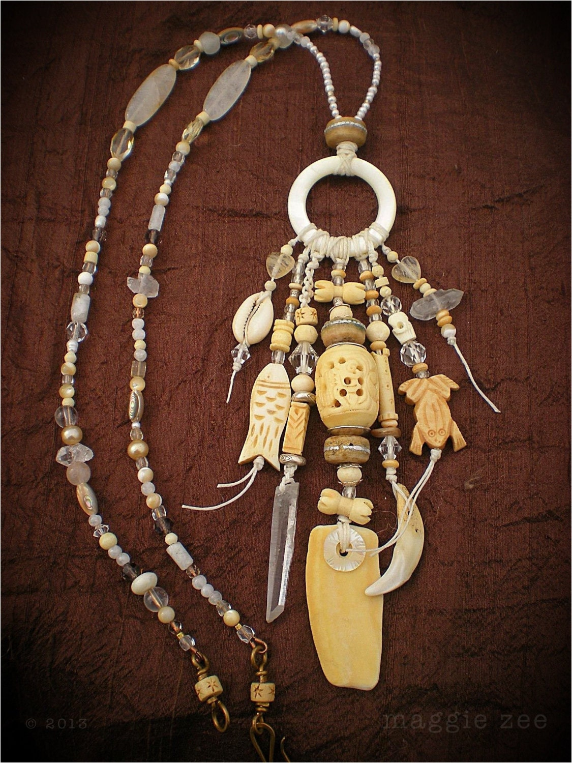 Amulet Jewelry Pendants Sothon: Sea Dreaming Shaman Amulet Necklace By Maggiezees On Etsy