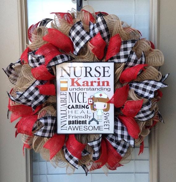 Items Similar To Personalized Nurse Wreath On Etsy