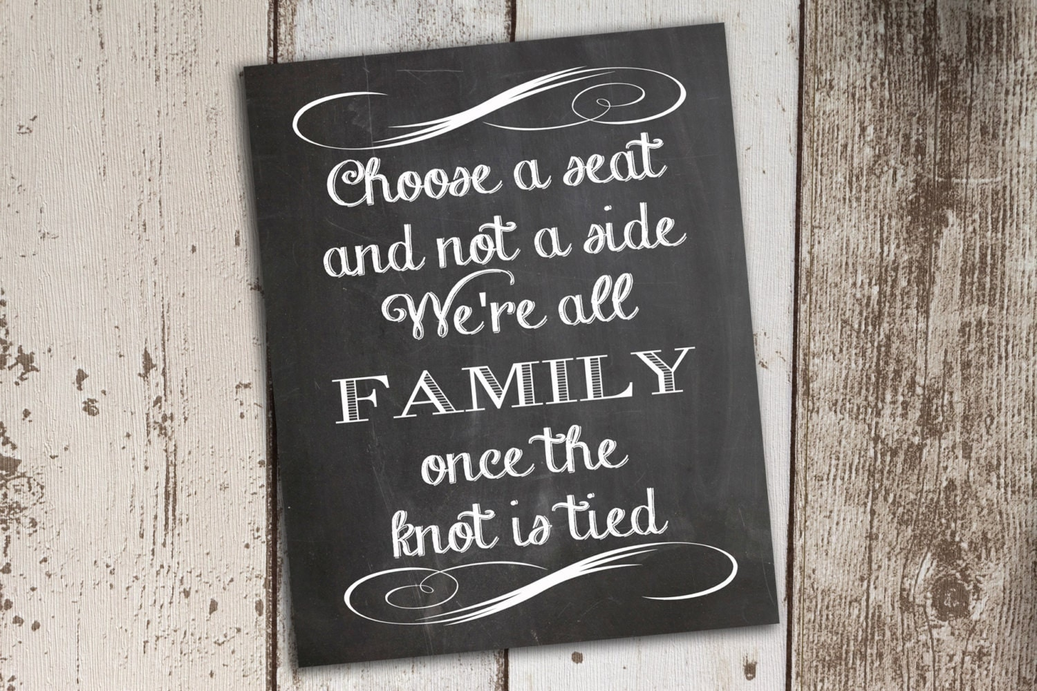 Choose A Seat Not A Side Chalkboard Wedding Sign By