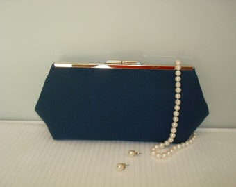 Free US Shipping Coastal Nautical Classic Timeless Day or Evening Navy Mariner Blue Cotton Linen Clutch Purse Bag