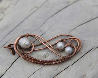 "Shawl pin, Copper and fresh water pearls wire wrap brooch, scarf pin ""Scrolls"", sterling silver shawl pin, silver brooch, silver & pearls"