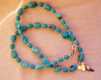 Turquoise Romance - Genuine Turquoise with Hill Tribe and Sterling Silver Heart Necklace