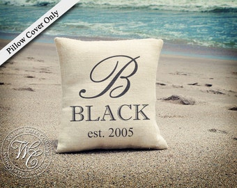 BURLAP PILLOW cover,  Personalized Wedding Gift, PILLOW with Monogram, Family Name &  Established Date