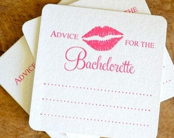 Set of 10 - Advice for the Bachelorette Coasters, Bach Bash Coaster, Ready to Ship, Party, Wedding