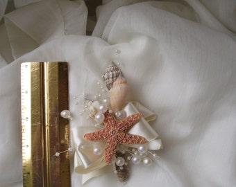 Sea shell corsage, boutonniere, beach wedding corsage, nautical coastal corsage, coastal wedding corsage, starfish corsage