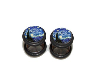Stary Night FAKE Plugs Post Earrings - 1 Pair - Made to Order